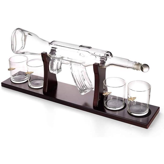 VERRE A VIN Deacutecanteur De Pistolet 1000ML Ensemble De Carafe en Verre en Forme De Whisky avec 4 Verres Agrave Whisky De Type1198