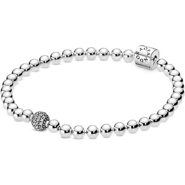BRACELET GOURMETTE JONC Bracelet Pandora 598342CZ Bracelet pour femme avec perles et pav&eacute220