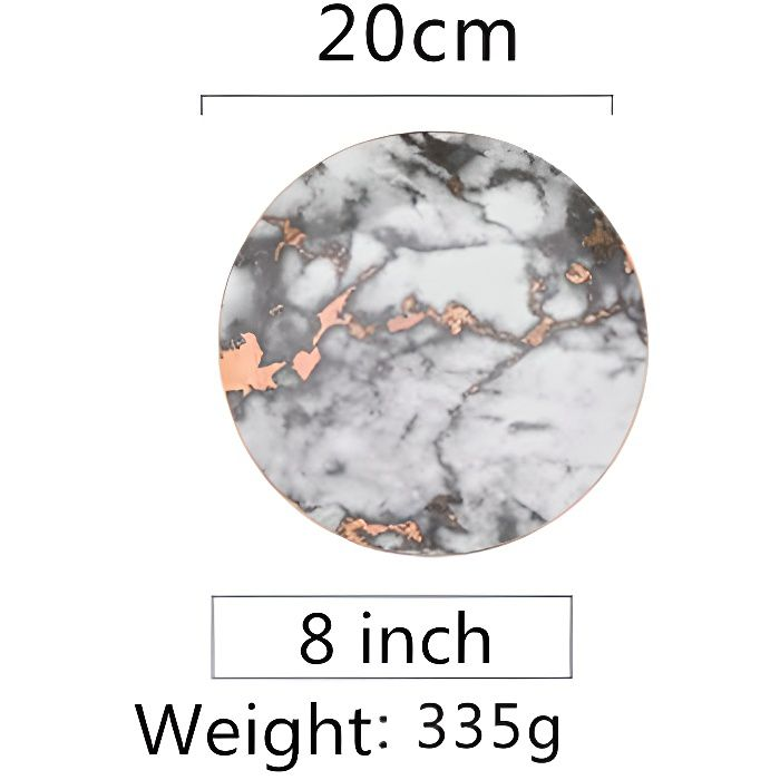 Assiette,Assiettes en marbre de Style européen,service de table en céramique,incrustation dorée - Type 02-Dark Grey