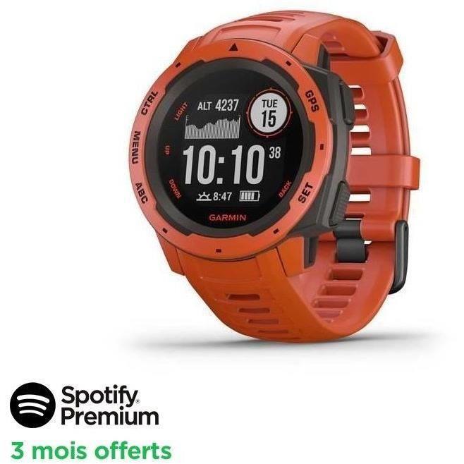 [SPOTIFY PREMIUM - 3 MOIS OFFERTS]Garmin Instinct®- Montre GPS robuste - Rouge Feu