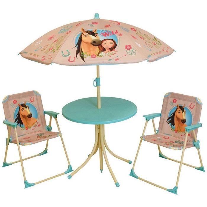 SPIRIT Salon de jardin : 1 table ronde, 2 chaises, 1 parasol pour enfant
