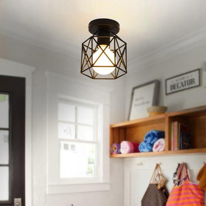 E-SENIOR-Retro Industrielle Plafonnier en Métal E27 Industrial DIY Ceiling Lamp Suspensions