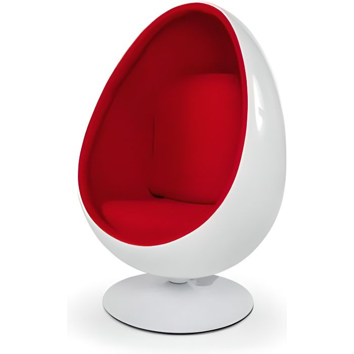 Fauteuil pivotant Oeuf Egg chair coque blanche / i