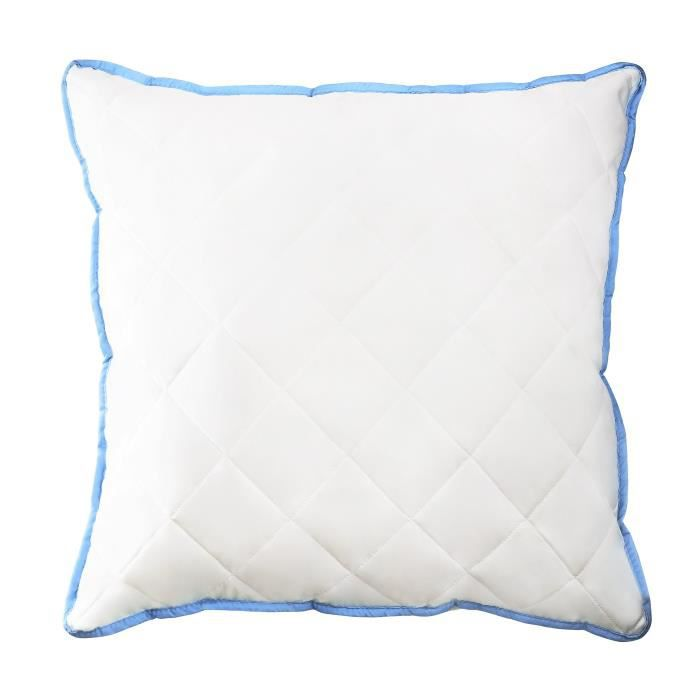 60x60 Oreiller matelassée bords bleus confort maximum 60x60 cm en polyester housse microfibre