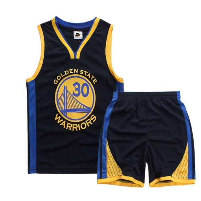 NBA Warriors Curry 30# Entraînement de compétition Jersey Maillot et Shorts de basketball Enfant -Noir