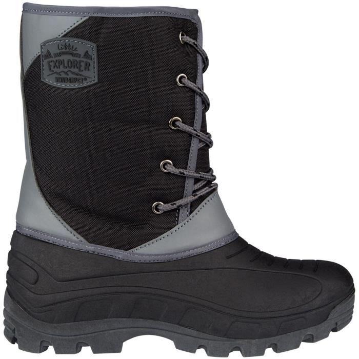 WINTER-GRIP Chaussures Apres ski cuir - Enfant - Noir