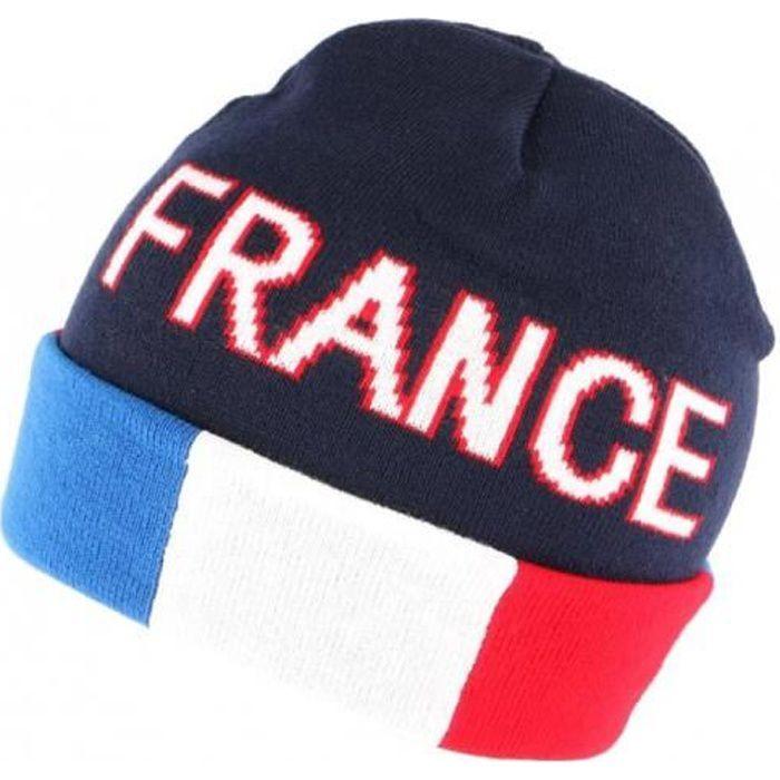 Bonnet France Bleu Blanc Rouge en laine - Bleu - Taille unique