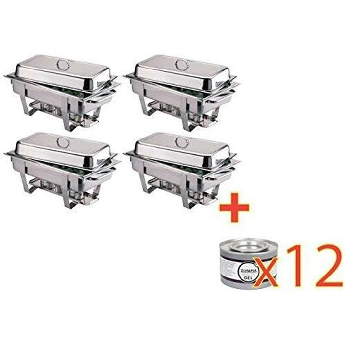 Lot de 4 Chafing dish Milan + 12 Gels OFFRE SPECIALE
