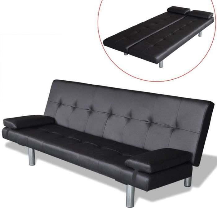 Canapé-lit réglable Scandinave Contemporain avec 2 oreillers d'angle réversible convertible Cuir synthétique salon sofa Noir
