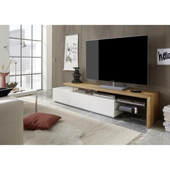 Meuble TV en blanc mat et chene massif avec 3 tiroirs - L204 x H40 x P40 cm
