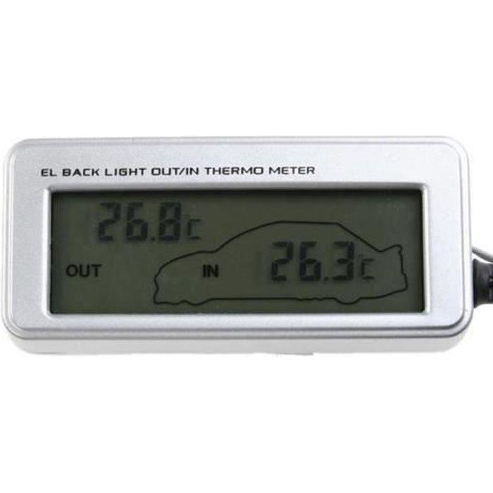 Thermomètre digital LCD Intérieur Extérieur Voiture Auto 12V