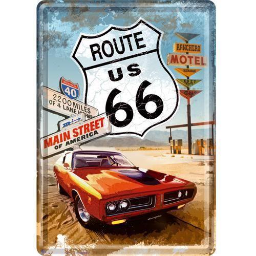 Petite plaque métal Route 66 Main Street