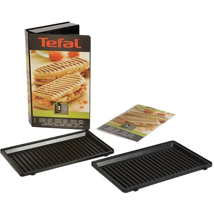 TEFAL Accessoires XA800312 Lot de 2 plaques grill panini Snack Collection
