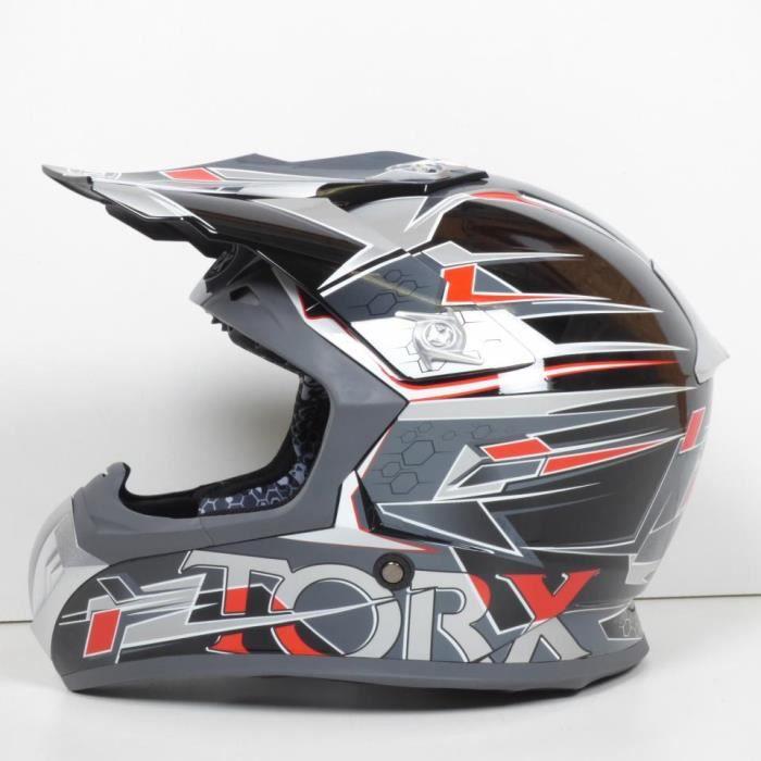 Casque moto cross Torx Taille L Marvin gris noir moto quad cross enduro TT