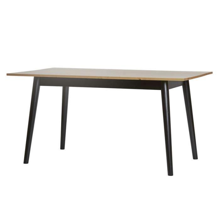 Table de repas pieds Noirs et plateau Bois - ELITE - L 150 x l 85 x H 75