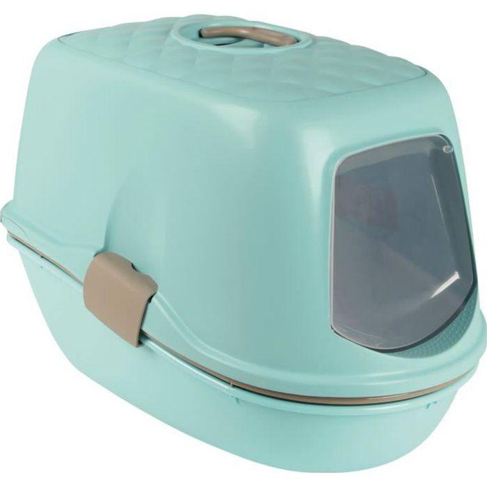 TRIXIE Bac à litière Berto Top avec toit - 39x42x59 cm - Bleu clair, taupe et granite - Pour chat