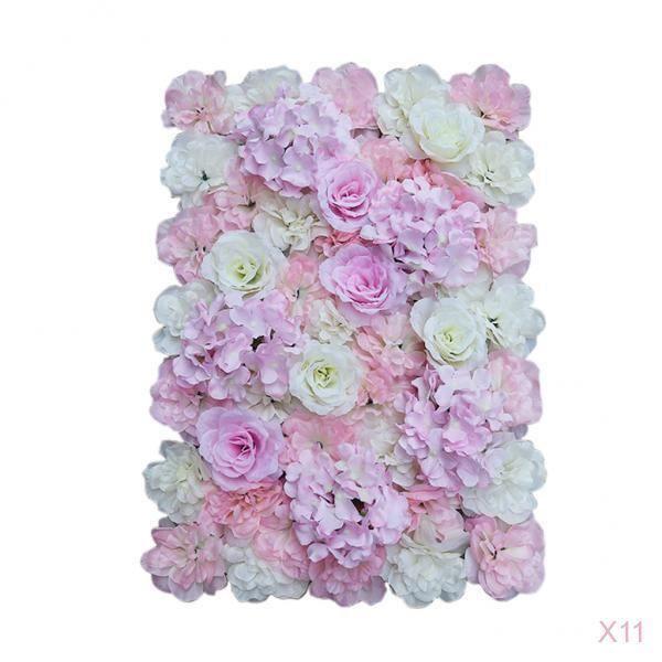 Kit de 11 Floral Panneaux Mur des Fleurs Artificielle Support Photographique Mariage 40 x 60cm