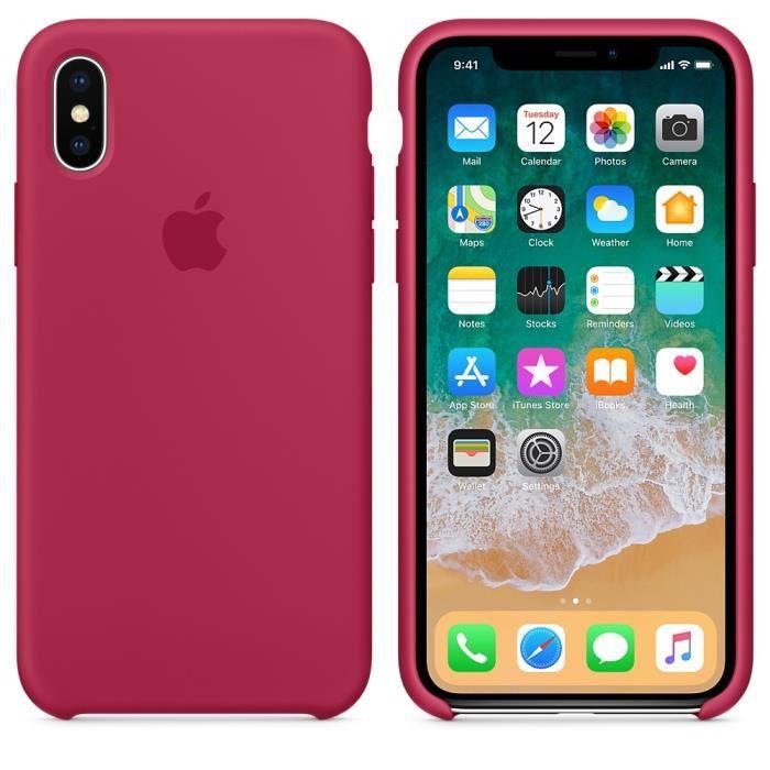 coque en silicone pour iphone x rose rouge kns