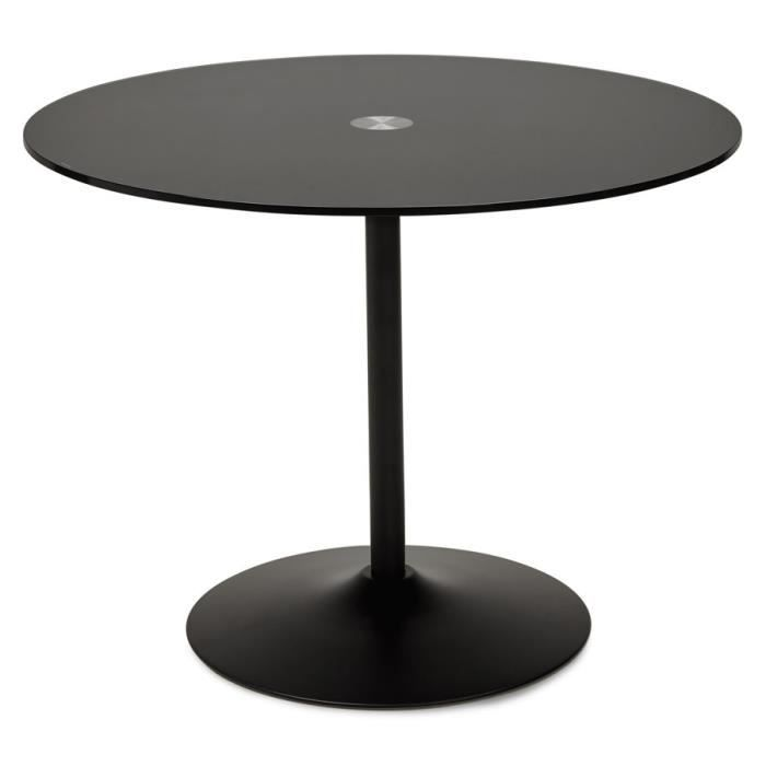 obo table manger ronde en verre noir 100cm achat vente table a manger seule obo. Black Bedroom Furniture Sets. Home Design Ideas