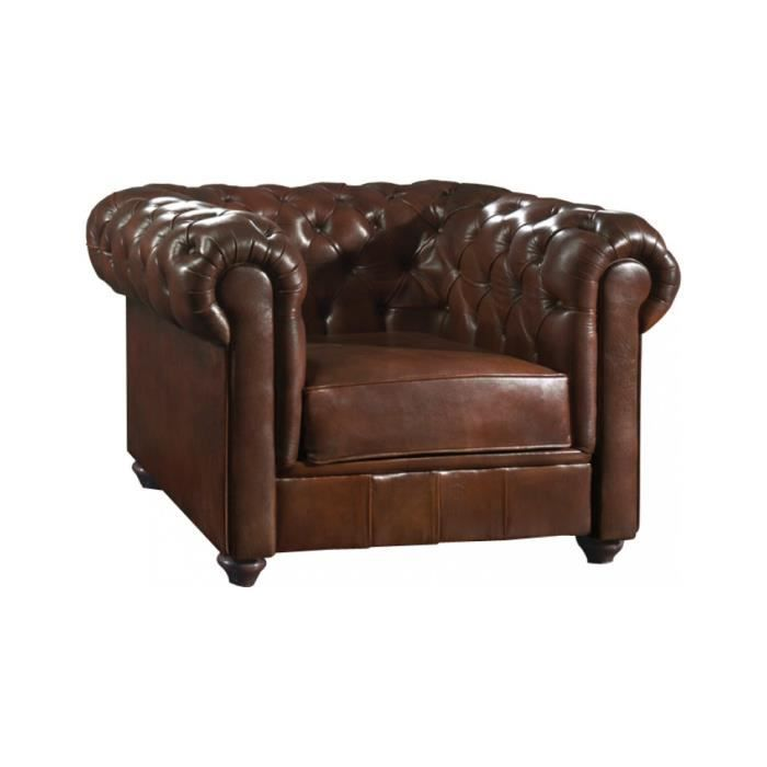 fauteuil club chesterfield cuir basane clout chocolat achat vente fauteuil marron soldes. Black Bedroom Furniture Sets. Home Design Ideas