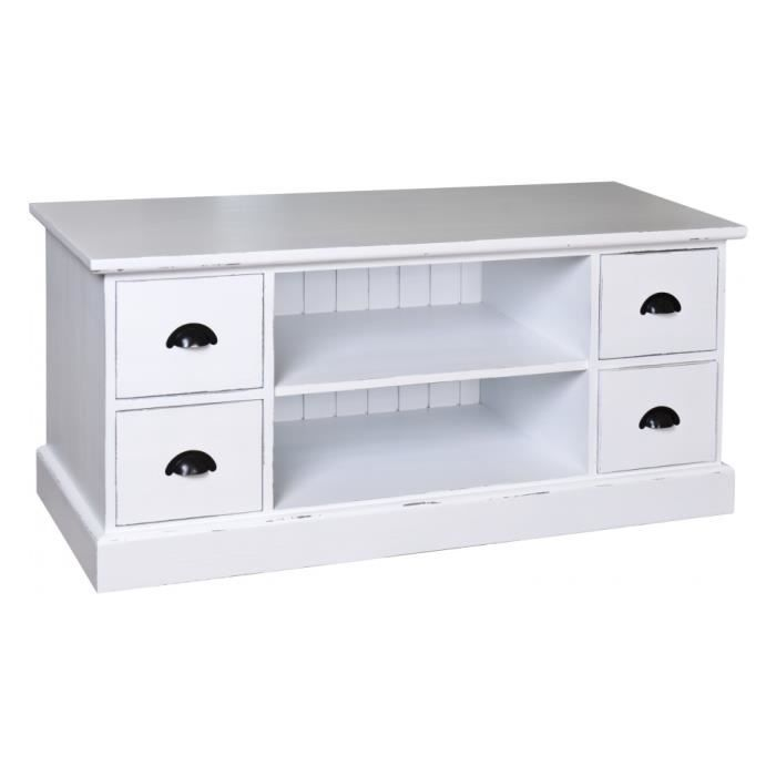 Meuble tv pin massif blanc patin 4 tiroirs 2 niches for Meuble tv pin