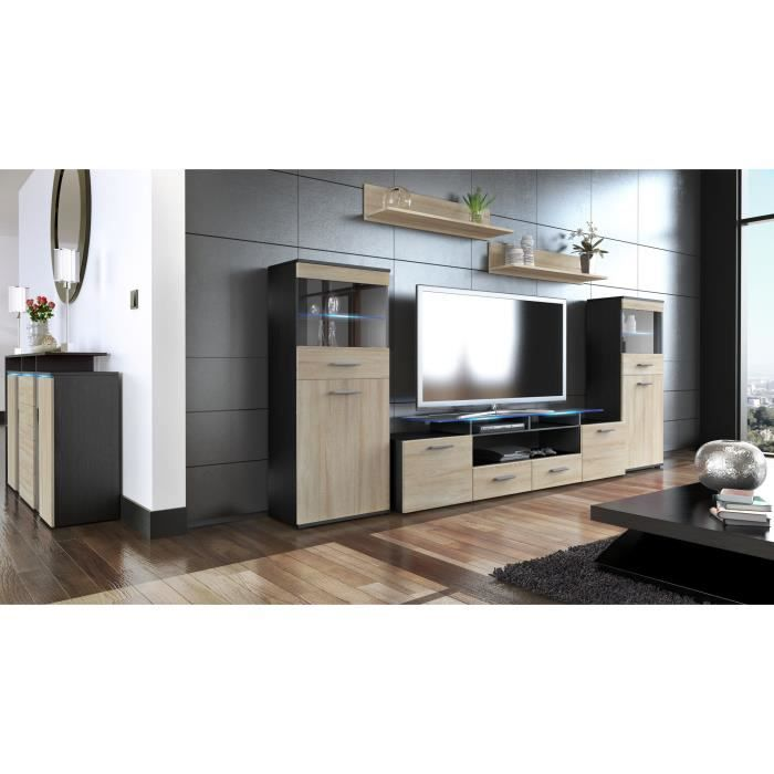 ensemble de 3 meubles tv noir et bois brut achat vente. Black Bedroom Furniture Sets. Home Design Ideas