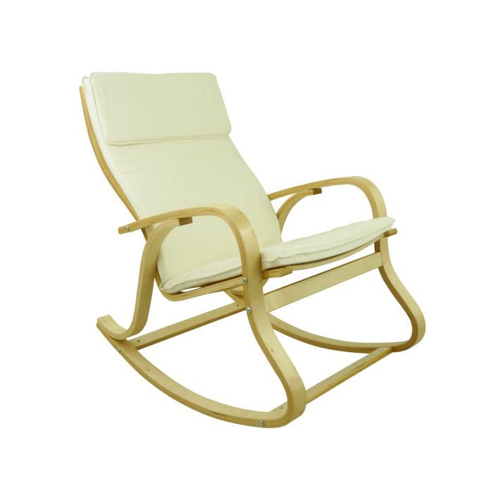 rocking chair benny coloris ecru achat vente chaise bois bouleau textile coton soldes. Black Bedroom Furniture Sets. Home Design Ideas