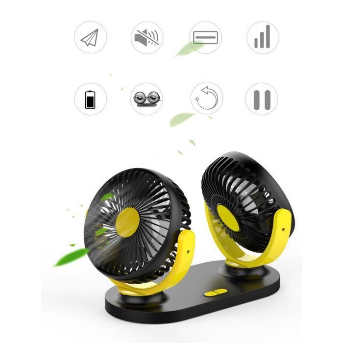 Ventilateur de voiture 12V doubles têtes rotatives silencieux 360 degrés rotatif