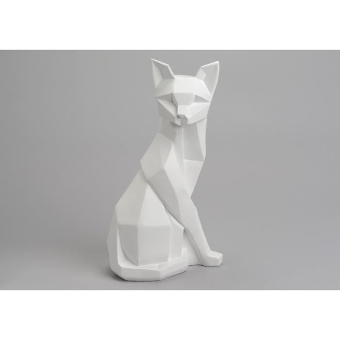 statuette chat origami blanc 30 cm achat vente statue statuette cdiscount. Black Bedroom Furniture Sets. Home Design Ideas