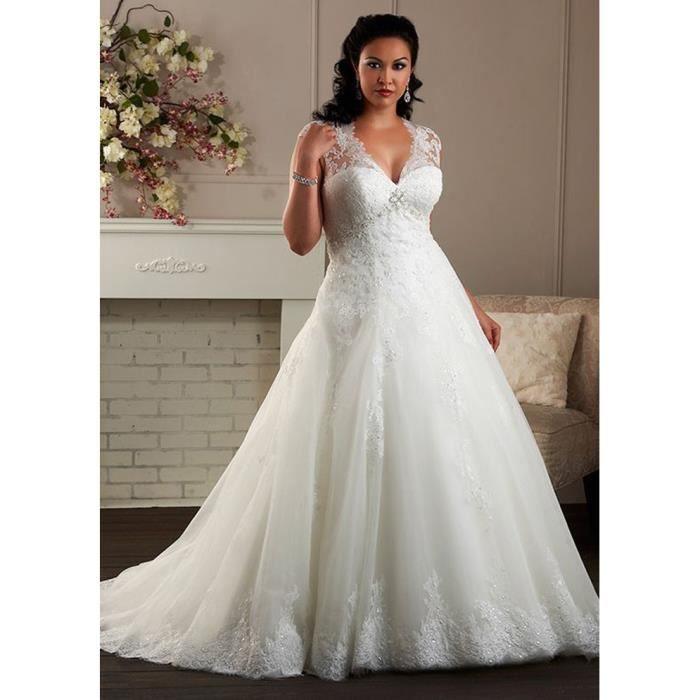 Robe de Mariage Blanche Longue Grande Taille