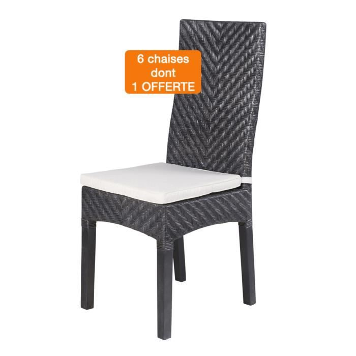 lot 6 chaises ibiza grises rotin achat vente chaise rotin cdiscount. Black Bedroom Furniture Sets. Home Design Ideas