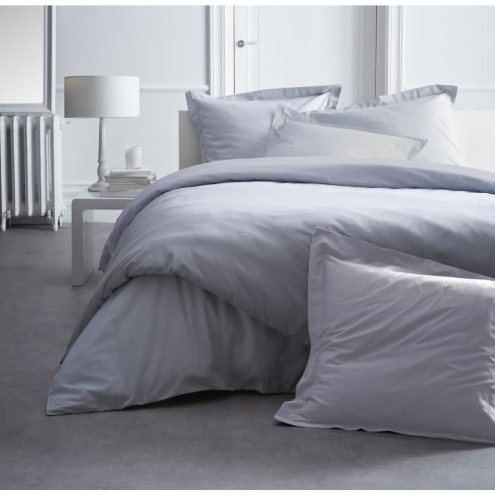 linge de lit today housse de couette 140x200 percale premium zinc achat vente housse de. Black Bedroom Furniture Sets. Home Design Ideas