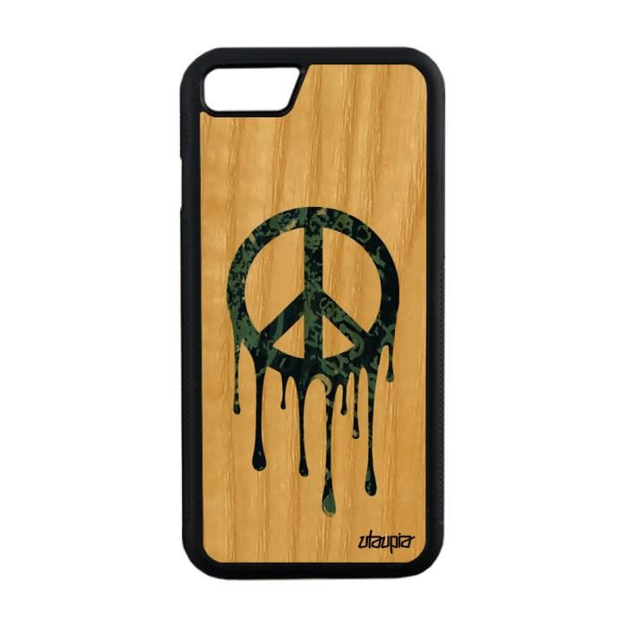 Coque pour iPhone 8 bois silicone peace and love G