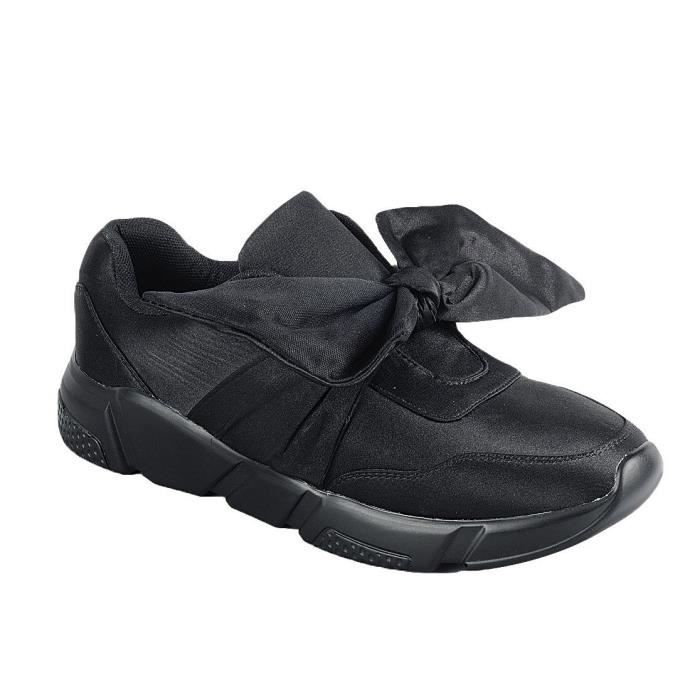Slip-on Stretch Bow Casual Sport Fashion Sneaker WBUSN Taille-37 1-2