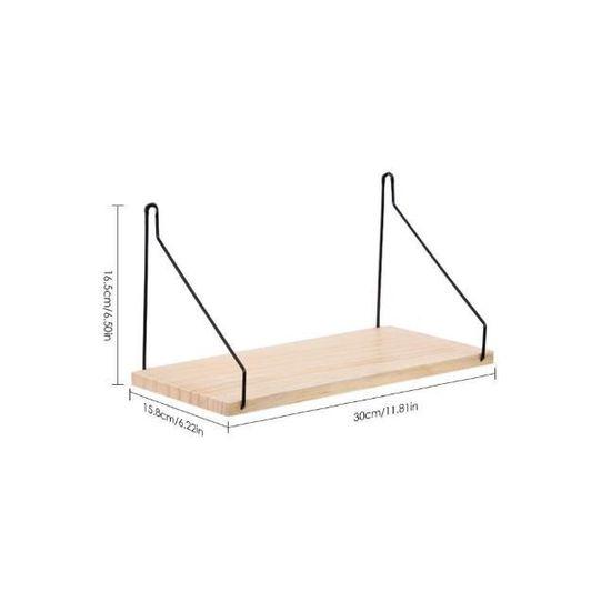 Etagère Tenture Murale Câble Et Bois Support De Tablette Unité Stockage Présentation Taille S