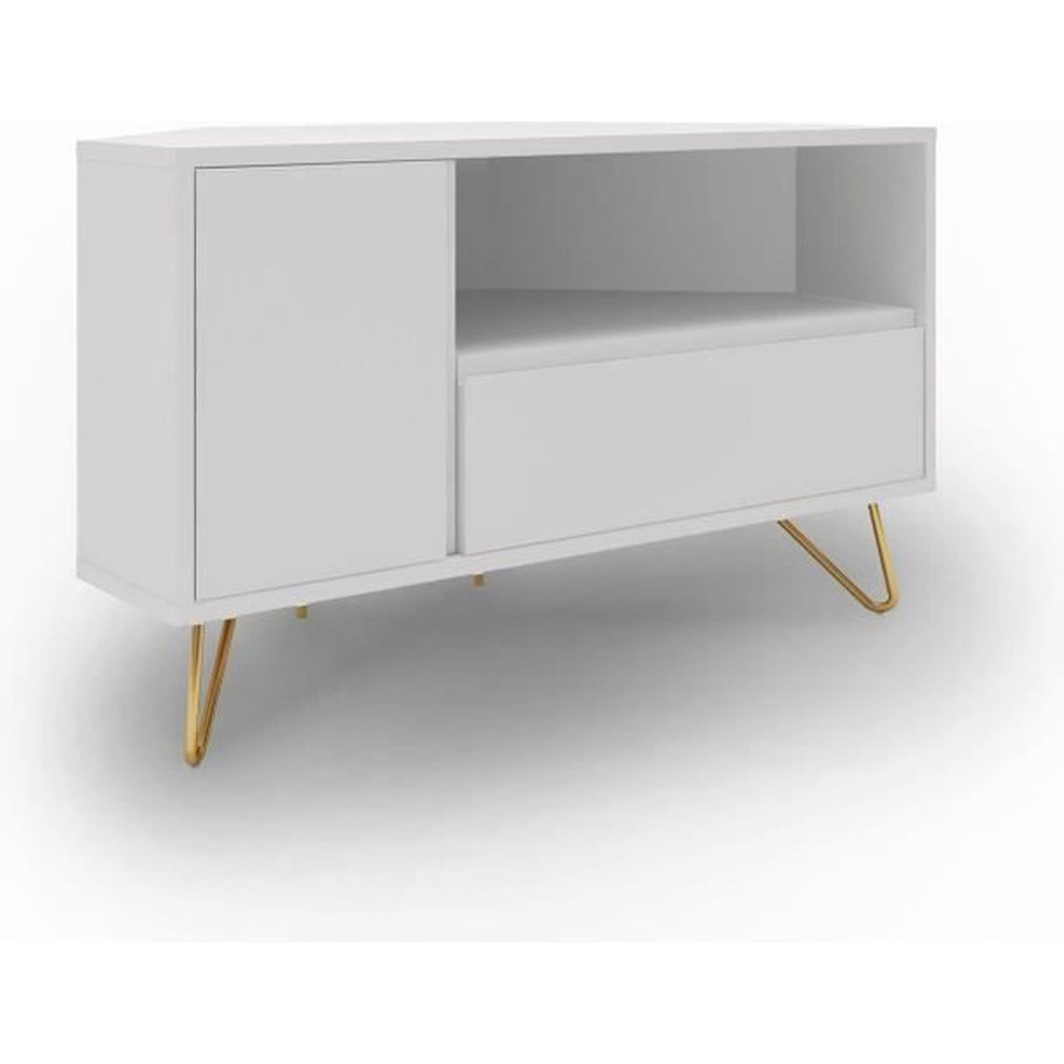 Meuble Tv Angle Suspendu meuble tv d'angle blanc darina - achat / vente meuble tv