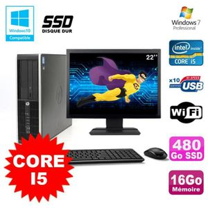 UNITÉ CENTRALE + ÉCRAN Lot PC HP Elite 8200 SFF Core I5 3.1GHz 16Go 480Go