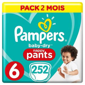 COUCHE PAMPERS Baby-Dry Pants Taille 6 (+15kg) 252 Couche