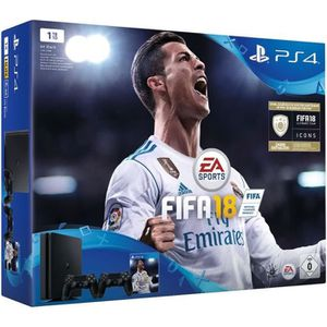 CONSOLE PS4 Sony PlayStation 4 Slim (1 To) + FIFA 18 + 2 manet