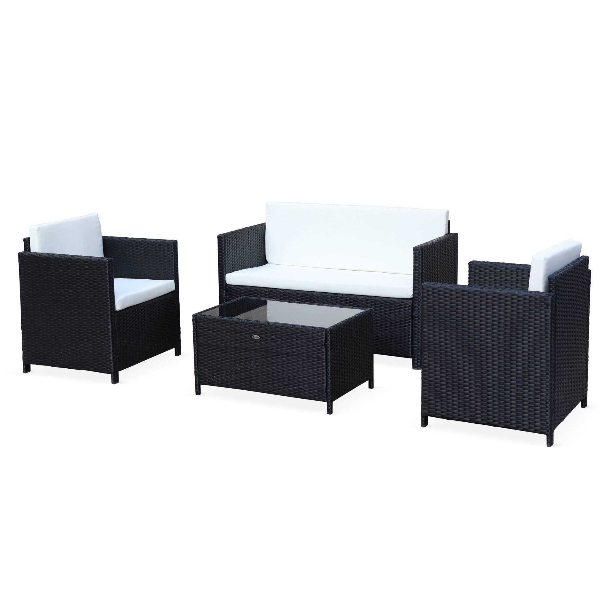 Salon de jardin en résine tressée - Perugia - noir, Coussins écrus - 4 places - 1 canapé, 2 fauteuils, une table basse