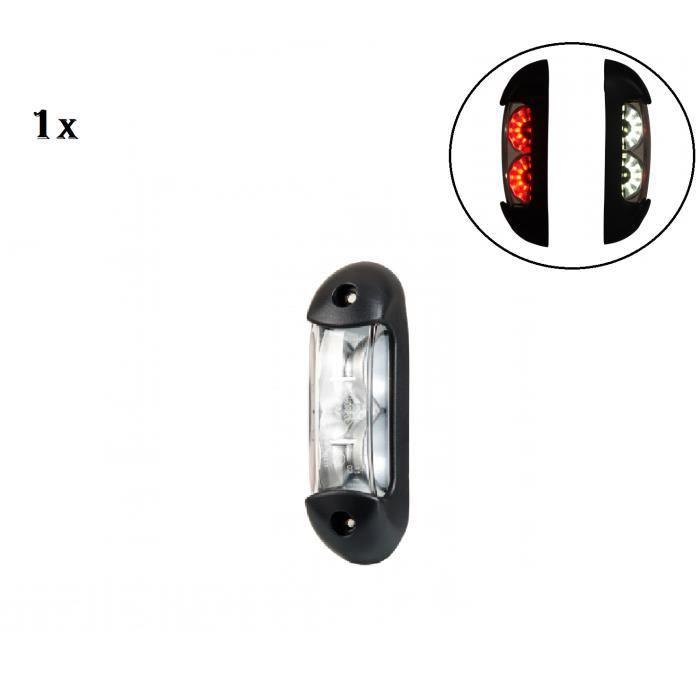 1x LED Feu De Gabarit Lateraux Position Universelle Rouge + Blanc 12-24V Camion