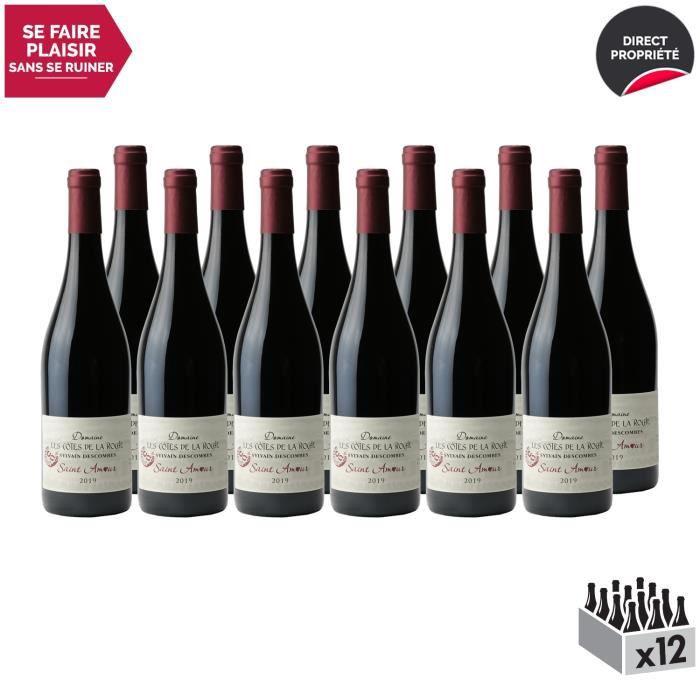 Saint-Amour Rouge 2019 - Lot de 12x75cl - Domaine les Côtes de la Roche - Vin AOC Rouge du Beaujolais - Cépage Gamay