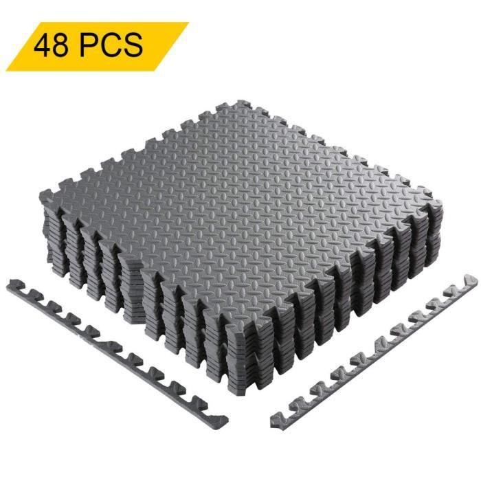 lot de 48 Pcs Tapis de Protection de Sol Tapis Puzzle en Mousse EVA Tapis de Gym Matelas Puzzle 60cm x 60cm x1cm ,gris