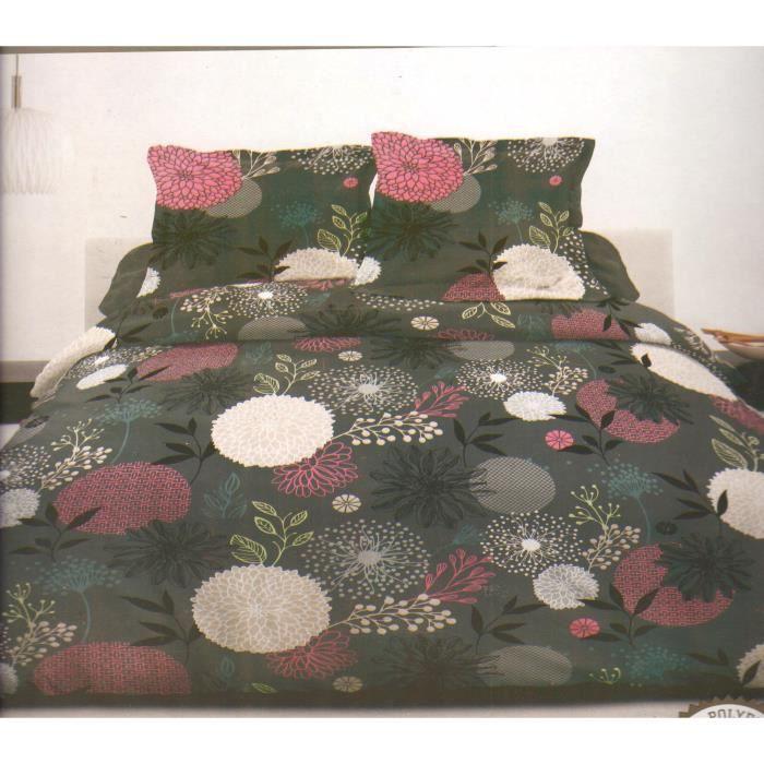 Fleur Grise - Parure de couette - Lit 2 Places - 3 pièces (220x240)