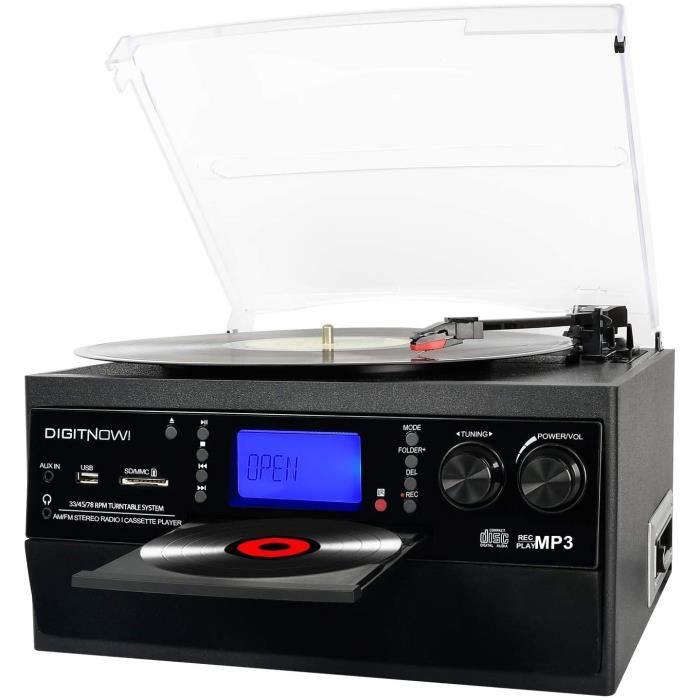 DIGITNOW! Platine Vinyle Bluetooth Tourne-Disque USB mp3 et Fonction Encodage Classique Lecteur CD avec CD Cassette Radio 33/45/78 R