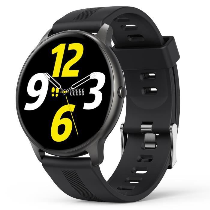 AGPTEK Montre Connectée Homme, Smartwatch Bluetooth 5.0 Sport Etanche IP68 Bracelet Connecté Fitness pour iOS et Android-Noir