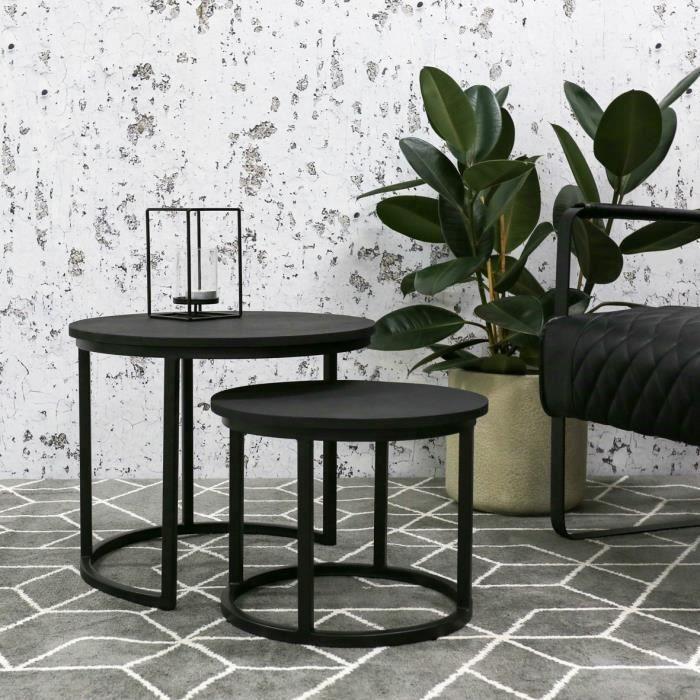 Rosa Noir - Table Basse Bois Massif Double Plateaux Industriel