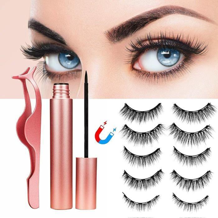 Faux Cils Magnétique Eyeliner Kit, 5 Paires 3D Naturel Faux Cils avec 2pcs Eye-liner Imperméable