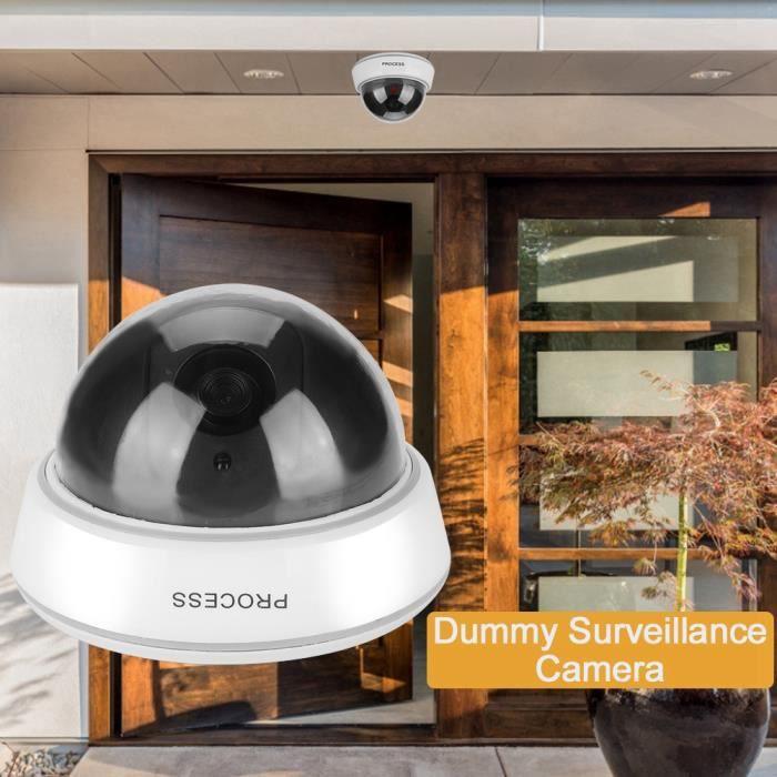 Fausse caméra de sécurité factice, caméra factice extérieure, avec feux rouges clignotants IR simulés, dôme blanc pour la