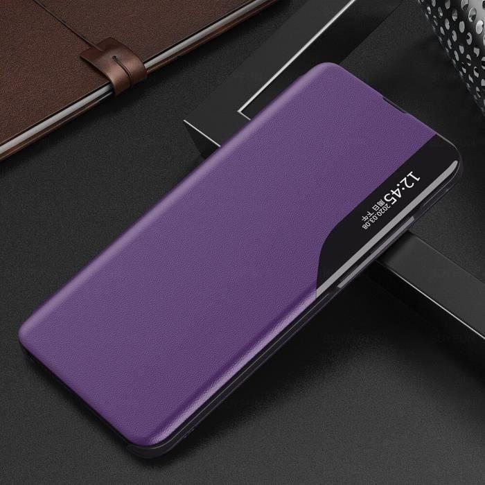Pour S21 Plus S 21 ultra étui en cuir smart view couvre rabat Pour Samsung Pour S21 Plus violet